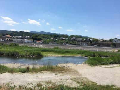 大分県日田の竹田公園と三隈川の風景
